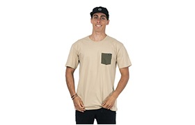 BASIC T-SHIRT SAND/GREEN